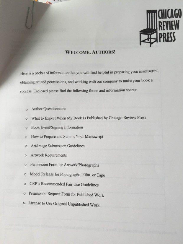 My author packet from Chicago Review Press.